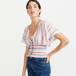 Abercrombie Stripe Smocked Button-Front Top